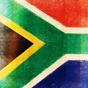 Weathered Prints - South Africa flag Print by Setsiri Silapasuwanchai