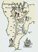 Cartography Photos - South America, From A 16th Century Map by Sheila Terry