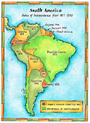Cartography Digital Art Prints - South American Independence Print by Jennifer Thermes