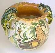 Indian Ceramics - South American Indian  Lizard jug by Edd Nelson