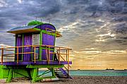 Lifeguard Photos - South Beach Dawn by William Wetmore