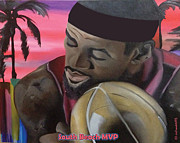 Miami Heat Painting Prints - South Beach LeBron Print by Chelsea VanHook