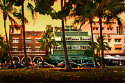 On The Beach Metal Prints - South Beach Ocean Drive Metal Print by Steven Sparks
