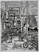 Linoluem Drawings Originals - South Congress by William Cauthern