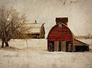 Weathered Digital Art Prints - South Dakota Corn Crib Print by Julie Hamilton