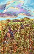 Cornfield Drawings Prints - South Dakota Horseback Ride Print by Dawn Senior-Trask
