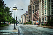 Light Poles Framed Prints - South Down Michigan Avenue Framed Print by Noah Katz