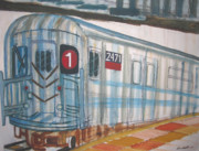 Machinery Painting Originals - South Ferry bound 1 Train by Enrico Miguel Thomas