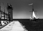 Jeff Holbrook Metal Prints - South Haven Lighthouse and Sailboat Metal Print by Jeff Holbrook