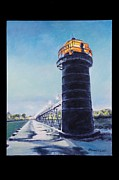 Night Glow Painting Originals - South Haven Lighthouse On Ice by Michael Wilson