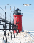 Winter Prints Photos - South Haven Pierhead Light by Michael Peychich