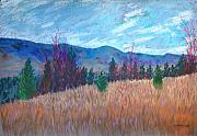 Rural Landscapes Pastels Prints - South Kelowna Vista Print by Marina Garrison