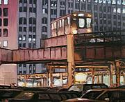 Chicago Il Paintings - South Loop El by Christopher Buoscio
