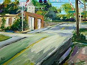 Local Painter Prints - South Main Street Train Crossing Print by Scott Nelson