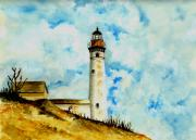 Lighthouse Drawings Framed Prints - South Manitou Island Lighthouse Framed Print by Michael Vigliotti
