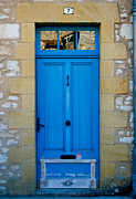 French Door Prints - South of France rustic blue door  Print by Georgia Fowler
