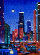 Chicago Landmark Paintings - South On Clark Street by J Loren Reedy