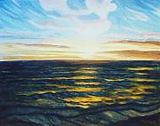 Sunrise Over Water Paintings - South Pacific Coastline by Nancy Rucker