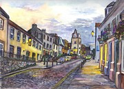 Cityscape Drawings - South Queensferry Edinburgh Scotland at Dusk by Carol Wisniewski