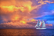 Moorea Paintings - South Seas Sailing by Dominic Piperata