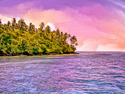 Moorea Paintings - South Seas Sunset by Dominic Piperata