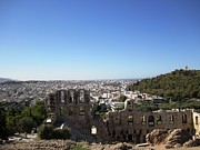 Neo-classical Posters - South Slope of Acropolis Ancient View of Theater of Dionysos in Athens Greece Poster by John A Shiron