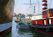 Tall-ships Framed Prints - South Street Sea Port Framed Print by Roelof Rossouw