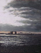 Industrial Paintings - Southampton Docks from Weston shore winter sunset by Martin Davey