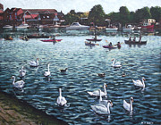 Canoes Paintings - Southampton Riverside Park River itchen by Martin Davey