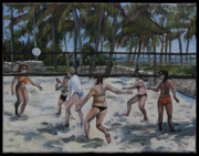 Edward Williams Prints - SouthBeachVolley Print by Edward Williams