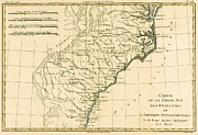 North America Drawings Prints - Southeast Coast of America Print by Guillaume Raynal
