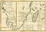 Antique Drawings Metal Prints - Southern Africa Metal Print by Guillaume Raynal