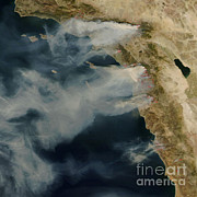 Wildfires Posters - Southern California Wildfires Poster by Nasa