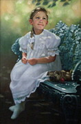 White Dress Painting Originals - Southern Girl Portrait by Janet McGrath