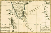 Vintage Map Drawings - Southern India and Ceylon by Guillaume Raynal