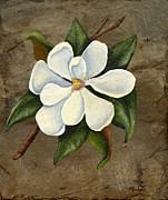Slate Paintings - Southern Magnolia by Elaine Hodges