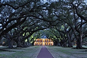 Lighted Pathway Prints - Southern Manor Home at Night Print by Jeremy Woodhouse