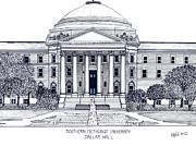 Historic Buildings Drawings Framed Prints - Southern Methodist University Framed Print by Frederic Kohli
