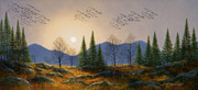 Watercolor And Gouache Paintings - Southern Migration By Moonlight by Frank Wilson