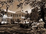 Black And White Photos Originals - Southern Plantation Home by Michael Thomas