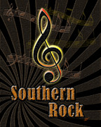Rock N Roll Digital Art - Southern Rock Music Poster by Linda Seacord
