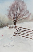 Split Rail Fence Prints - Southern Snow  Print by Bobby Walters