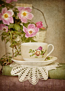 Mauve Roses Photo Acrylic Prints - Southern Tea Acrylic Print by Cheryl Davis