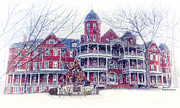 Winter Prints Photos - Southern Virginia University In Winter by Kathy Jennings