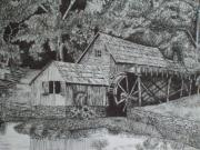 Old Mills Drawings Posters - Southern Watermill Poster by Chris Shepherd