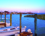 Boats In Harbor Prints - Southport Lights Print by Garland Johnson