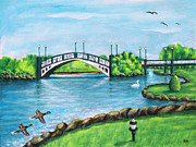 Swan Paintings - Southport Marina Lake by Ronald Haber