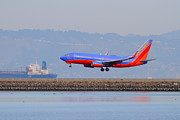 Airplane Prints - Southwest Airlines Jet Airplane At San Francisco International Airport SFO . 7D12176 Print by Wingsdomain Art and Photography