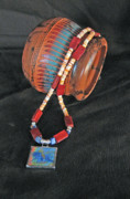 Orange Jewelry - Southwest Color  Horse and Cowboy by Connie Owens