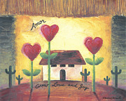 Southwest Landscape Paintings - Southwest Heart Home by Renee Womack